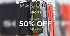 Buy One Get One 50% Off On Men's Shorts at #PacSun  #Clothing #Shopping #Discount #BOGO #Shorts #Mens