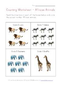 jungle animals counting worksheet