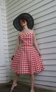 Vintage Red Gingham Dress Strapless Cotton Button Back by soulrust, $89.99
