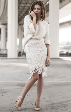 Off white oversized knit, off white laser cut lace pencil skirt, and rose gold h. - Off white oversized knit, off white laser cut lace pencil skirt, and rose gold heels - Lace Outfit, Lace Dress, Lace Skirt Outfits, Denim Skirt, Dress Shoes, Flared Skirt, Mode Outfits, Fashion Outfits, Skirt Fashion