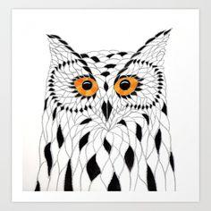 Mosaic Owl Art Print by owlartsur Society6.com.