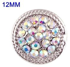 Silver Opal Rhinestones 12mm Mini Petite Snap Charm For Ginger Snaps Jewelry #Handmade #Interchangeable
