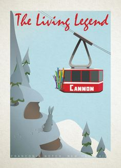 Ski Poster  Ski New Hampshire Cannon Mountain by AlpineDesignWorks, $19.00