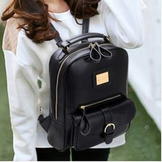 2014 women men England preppy style pu leather backpack Korean women's men's 5 colors school backpacks 25x10x34 cm