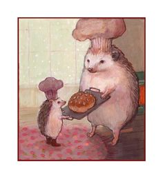 Hedgehogs Baking Bread by Solangiana  I spent last night baking, there's something very soothing and rewarding about it.