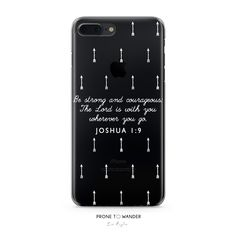 H175 - BE STRONG AND COURAGEOUS - Joshua 1:9 - Arrows White Bible Verse Christian Quote Phone Covers