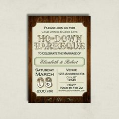 HoDown. Barbeque Invitation. BBQ Barn Rustic by BitsnPiecesEvents
