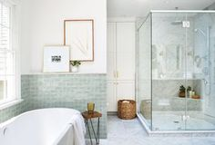 Interior design services that let you have as much (or as little) creative control as you want. Full- service interior design and e-design in the New York, New Jersey, Connecticut region. Bathroom Colors, Small Bathroom, Master Bathroom, Bathroom Ideas, Mint Bathroom, Bungalow Bathroom, Big Bathrooms, Bathroom Closet, Bath Ideas