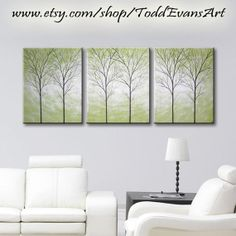 48x20 Inches, Olive Green, Original Paintings, 3 piece Set, Large Canvas Wall Art Tree Painting Trees, Triptych Wall decor art paintings by ToddEvansArt, $90.00