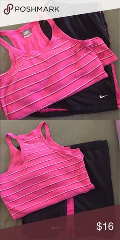 Hot Pink and Black matching tank and shorts set Cute matching set tank has razorback shorts have tie around the waist great for working out or every day wear.. has been worn a few times Great condition Nike  Other