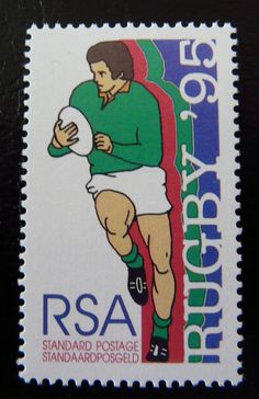 Commemorating the 1995 Rugby World Cup in South Africa Rugby stamp from South Africa South Africa Rugby, Union Of South Africa, Apartheid Museum, Commemorative Stamps, The Beautiful Country, Small Art, Handmade Books, Afrikaans, African History