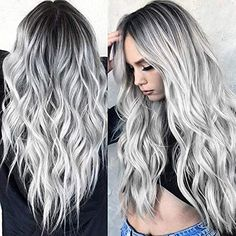 Wish Sexy Hair Style for Women Sexy Gradient Blonde Long Curly Hair Mixed Colors Synthetic Wig Wig Styles, Curly Hair Styles, Natural Hair Styles, Blonde Ombre, Ombre Hair, Blonde Wig, Gray Ombre, Platinum Blonde Balayage, Balayage Hair Grey