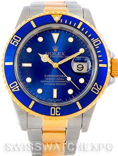 Rolex Submariner Steel Yellow Gold Blue Dial Watch 16613