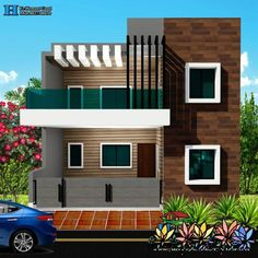 Amazing and Unbelievable Carved Wood You Need To See Front Elevation Designs, House Elevation, Modern Fence Design, Modern House Design, House Front Design, Small House Design, Rectangle House Plans, Indian House Plans, Independent House