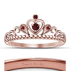 Hot Fashion Jewelry Women's 925 Silver Disney Princess Pocahontas Crown Ring  *Click here to View Our Other Products*  Brand  Bacio Jewels  Metal  Sterling Silver  Main Stone  Garnet  Main Stone Color  Red  Main Stone Shape  Round Cut  Style  C...