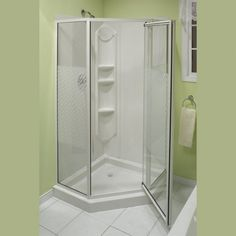 One Piece corner Shower Inserts with recessed shelves   SHOWER ...