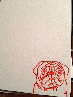 sweet pug letterpress flat notecards note cards by lauralhartman, $10.00  puggle art unique