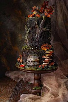10 Woodland Wonders For Fall — Cake Wrecks Pretty Cakes, Cute Cakes, Tree Stump Cake, Extreme Cakes, Woodland Cake, Fantasy Cake, Dragon Cakes, Cake Wrecks, Fall Cakes