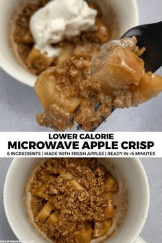 microwave apple crisp recipe that transform a fresh apple into a deliciously sweet treat in about five minutes.A microwave apple crisp recipe that transform a fresh apple into a deliciously sweet treat in about five minutes. Desserts Pauvres En Calories, Calories Apple, Low Calorie Desserts, No Calorie Foods, Low Calorie Recipes, Foods With No Calories, Low Calorie Snacks Sweet, Low Calorie Mug Cake, Low Calorie Baking