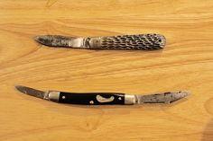 vintage antique pocket knives before cleaning restoring