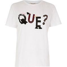 White 'Que?' embroidered T-shirt