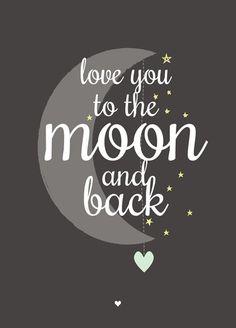 Ansichtkaart love you to the moon zwart wit