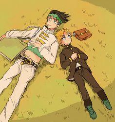 Tags: Anime, JoJo no Kimyou na Bouken, Kishibe Rohan, Hirose Koichi, Laying on Back, Laying on Grass, School Bag