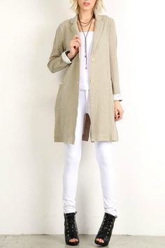 Long cotton blazer has 2 buttons and striped grey and off-white trim at cuff and inside 2 pockets. Look great with skinny jeans or leggings! The perfect spring jacket to throw on.   Updated Cotton Jacket by Mystree. Clothing - Jackets Coats & Blazers - Jackets Boston Massachusetts