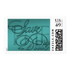 Save the Date Logo Teal Blue Postage