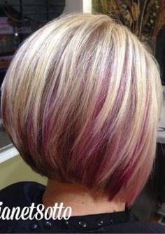 40 Ideas of Peek a Boo Highlights for Any Hair Color Best Hair Color Highlights Ideas for 2019 Purple Hair Highlights, Hair Color Purple, Hair Color And Cut, Colored Highlights, Cool Hair Color, Purple Bob, Pink Peekaboo Highlights, Brunette Highlights, Color Blue