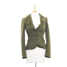 Zara Green Jacket w/ Ruffled Collar Size: M $30.00 stacksonracks.com