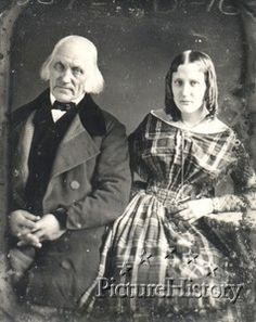 This daguerreotype portrait of an old man seated with a young lady was taken by Montgomery P. Simmons of Philadelphia, c. 1845