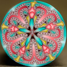 LARGE Circle Kaleidoscope Polymer Clay Cane (14D)