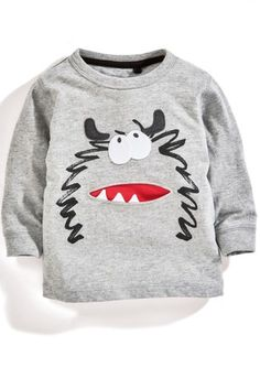 Buy Grey Monster Long Sleeve Top from the Next UK online shop Baby Outfits, Kids Outfits, Mens Leather Moccasins, Grey Long Sleeve Tops, Kids Fashion Boy, Winter Kids, Kids Prints, Apparel Design, Latest Fashion For Women