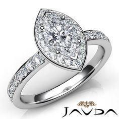 Marquise Cut Halo Pave Set Diamond Anniversary Ring GIA F VVS2 Platinum 0 95ct   eBay