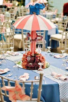 Pretty carnival inspired centerpieces