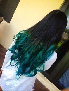 Blue tips green hair ombre, hair color blue, dyed hair blue, ombre hair Green Hair Dye, Dyed Hair Blue, Teal Hair, Ombre Hair Color, Hair Color For Black Hair, Dark Hair, Hair Colors, Brown Hair, Blue Tips Hair
