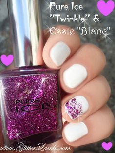 "www.GlitterLambs.com -Pure Ice ""Twinkle"" And Essie ""Blanc"" Purple And White"