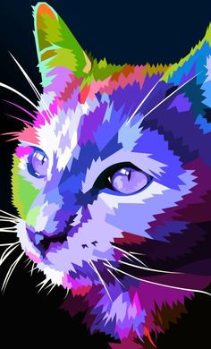 Colorfull cat 🙂 by elviraNL.devianta… on Colorfull cat :] by elviraNL.devianta… on Colorful Animals, Colorful Animal Paintings, Cat Colors, Bold Colors, Arte Pop, Cat Drawing, Crazy Cats, Cool Cats, Pet Portraits