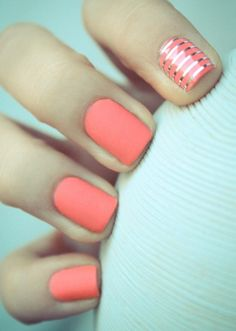 Salmon with the silver stripes for a bright summer mani.