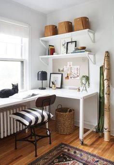 83 most beautiful home office design ideas 8 Guest Room Office, Home Office Space, Home Office Design, Home Office Decor, House Design, At Home Office Ideas, Small Bedroom Office, Bedroom Office Combo, Office Style