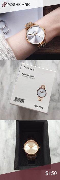 Nixon Rose Gold + White Kensington Watch •Classic 37mm case size in a clean look that's suitable for any setting. 3-hand movement with understated contemporary charm. More slender 16mm, 3-link band for wide-ranging appeal with a stainless steel clasp.  •Rose gold with a white face.  •New in box, in original packaging with extra links, tags attached. NWT Retail.  •NO TRADES/HOLDS/PAYPAL/MERC/VINTED/NONSENSE. Nixon Accessories Watches