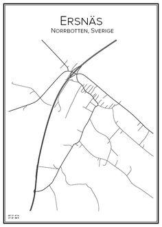 Ersnäs. Norrbotten. Sverige. Map. City print. Print. Affisch. Tavla. Tryck. Stadskarta.