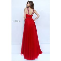 A Line 2016 Sherri Hill 50143 Red Beaded Halter Prom Dress ($225) ❤ liked on Polyvore featuring dresses, sherri hill 50143, halter prom dresses, red a line dress, halter cocktail dress, prom dresses and red halter dress