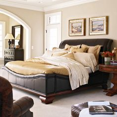 Santa Barbara Carriage House Leather Sleigh Bed Set   $ @