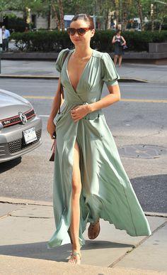 Miranda Kerr in mint maxi wrap-dress