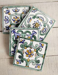 Azulejos artesanales Set de 4 azulejos de cerámica