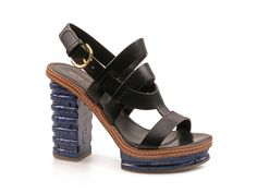 Sergio Rossi sandals with platform in blue Leather