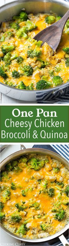 Pan Cheesy Chicken Broccoli and Quinoa - I've already made this 3 times now! Easy, healthy and delicious!One Pan Cheesy Chicken Broccoli and Quinoa - I've already made this 3 times now! Easy, healthy and delicious! Healthy Cooking, Healthy Eating, Cooking Recipes, Healthy Grains, Cooking Time, Healthy Food, Cheesy Chicken, Chicken Broccoli, Broccoli Stalk