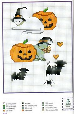 Zucche 2; Halloween motifs; jack-o-lanterns and cats in witch hats; quick to stitch.